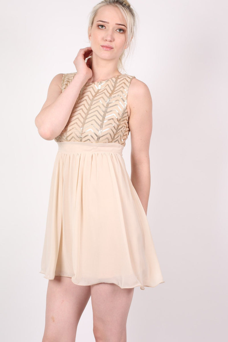 Chiffon Sequin Mix Dress in Nude MODEL FRONT