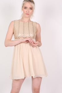 Chiffon Sequin Mix Dress in Nude MODEL FRONT 2