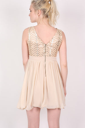 Chiffon Sequin Mix Dress in Nude MODEL BACK