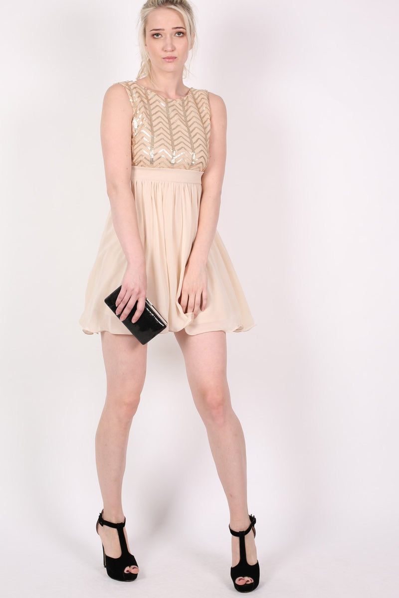 Chiffon Sequin Mix Dress in Nude MODEL FRONT 3