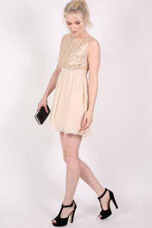 Chiffon Sequin Mix Dress in Nude MODEL SIDE