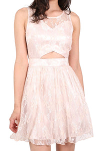 Lace Cut Out Front Skater Dress in Pink