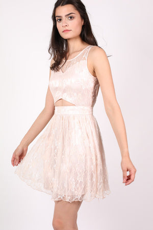 Lace Cut Out Front Skater Dress in Pink MODEL SIDE
