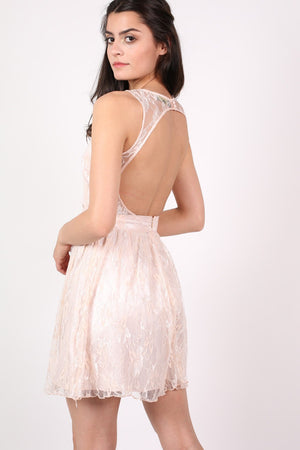 Lace Cut Out Front Skater Dress in Pink MODEL BACK