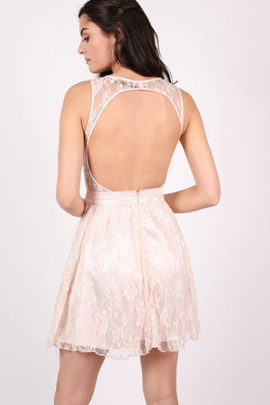 Lace Cut Out Front Skater Dress in Pink MODEL BACK 2