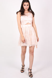 Lace Cut Out Front Skater Dress in Pink MODEL FRONT 2