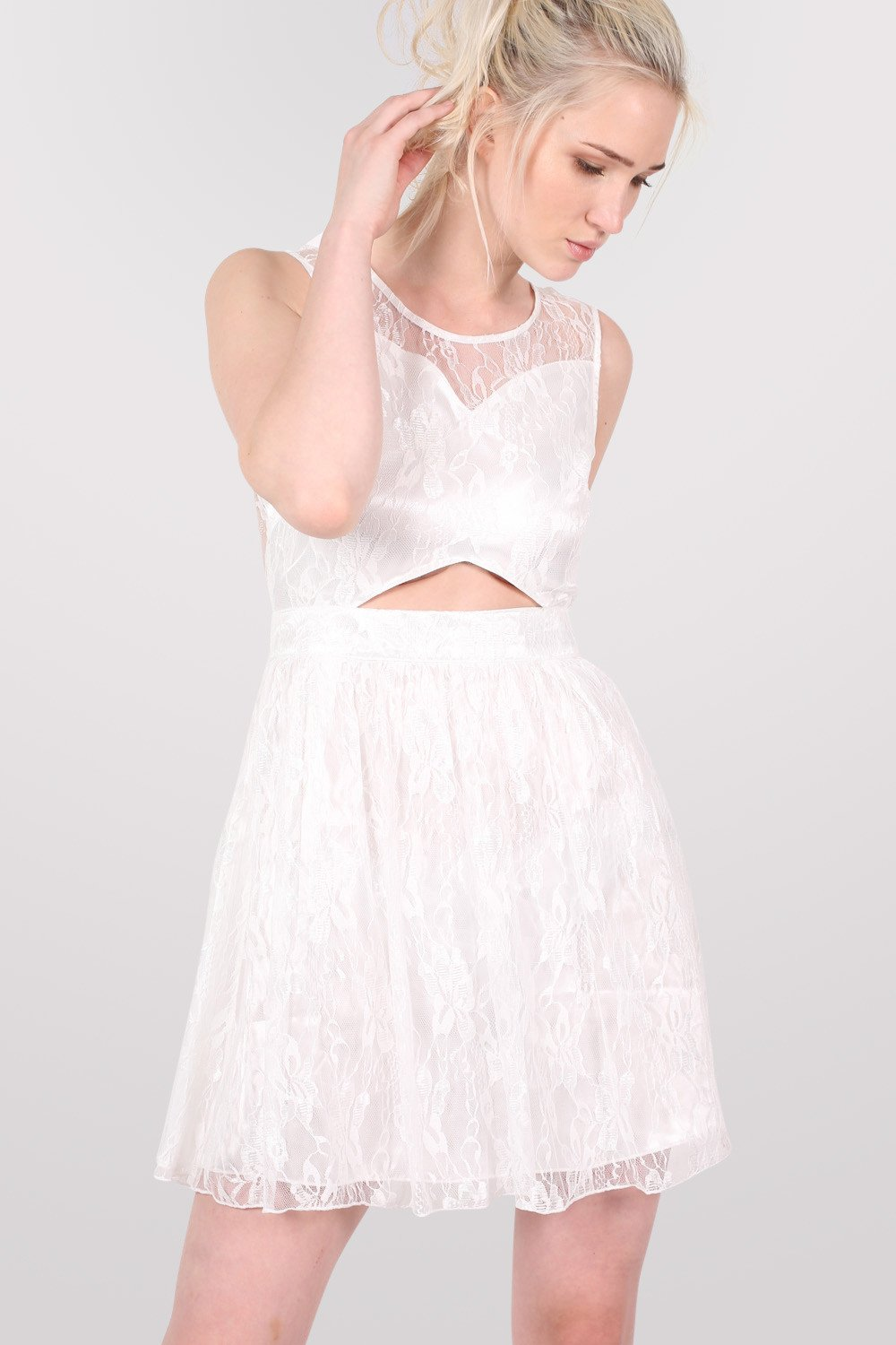 Lace Cut Out Front Skater Dress in White MODEL FRONT