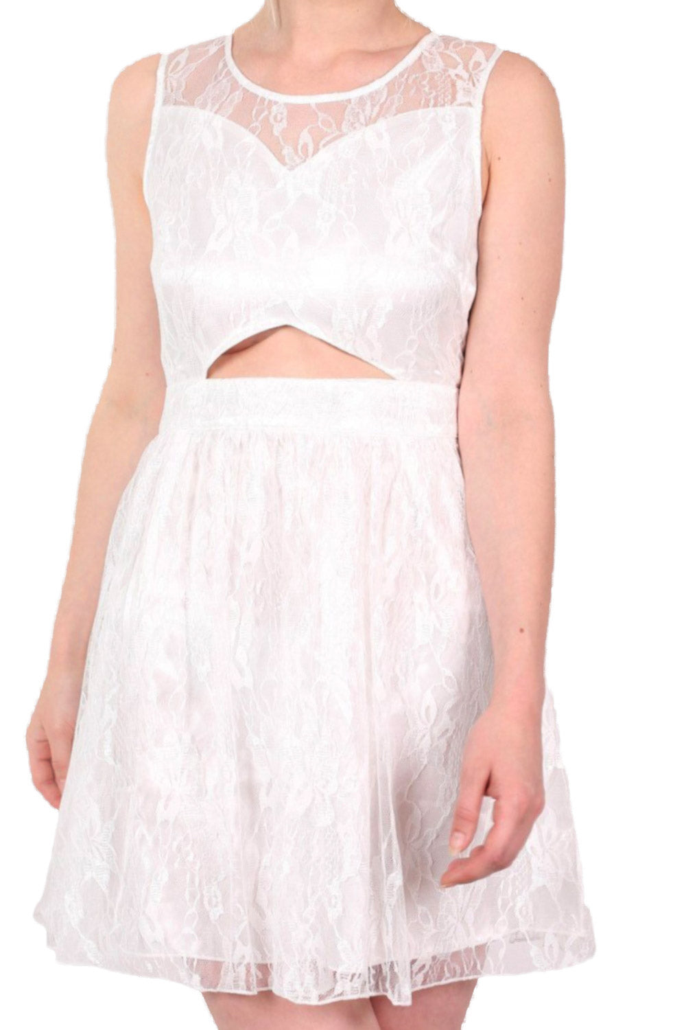 Lace Cut Out Front Skater Dress in White