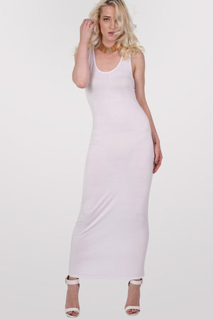 Scoop Neck Sleeveless Maxi Dress in White MODEL FRONT