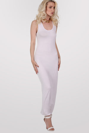 Scoop Neck Sleeveless Maxi Dress in White MODEL FRONT 2