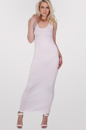 Scoop Neck Sleeveless Maxi Dress in White MODEL FRONT 3