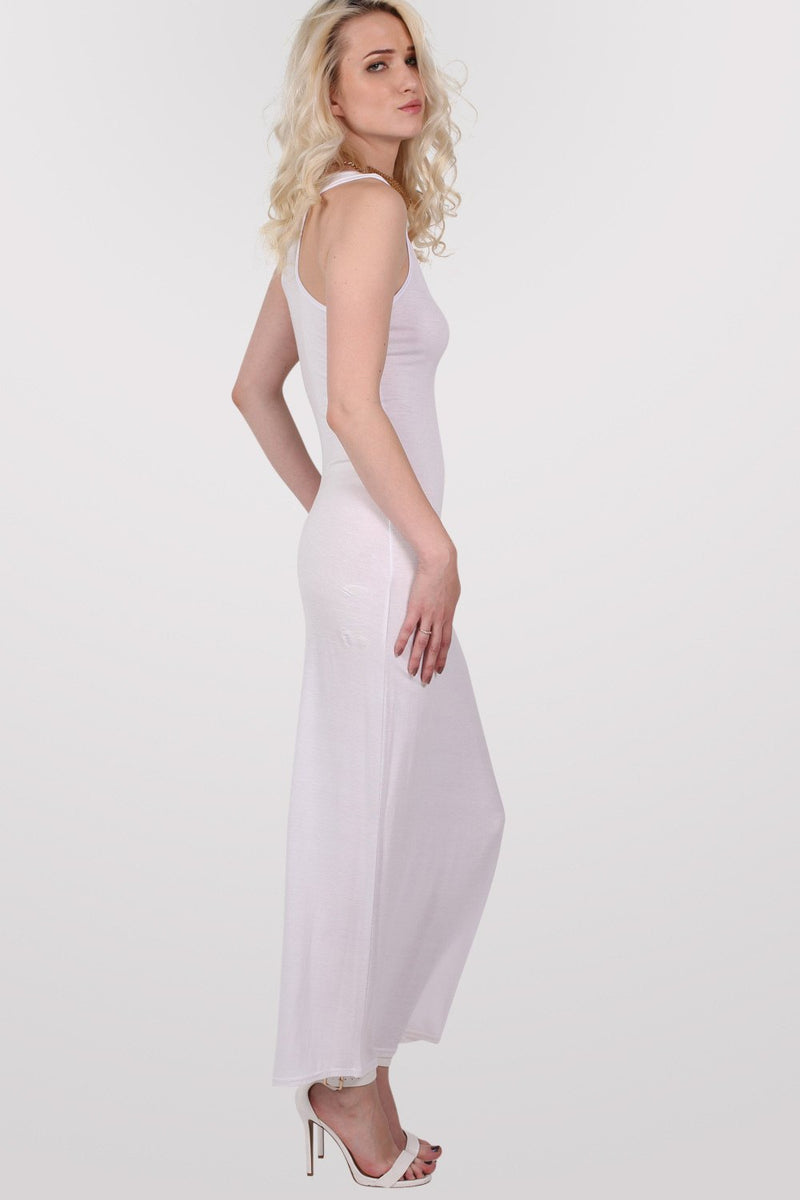 Scoop Neck Sleeveless Maxi Dress in White MODEL SIDE