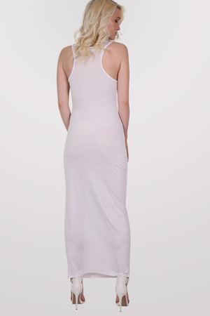 Scoop Neck Sleeveless Maxi Dress in White MODEL BACK