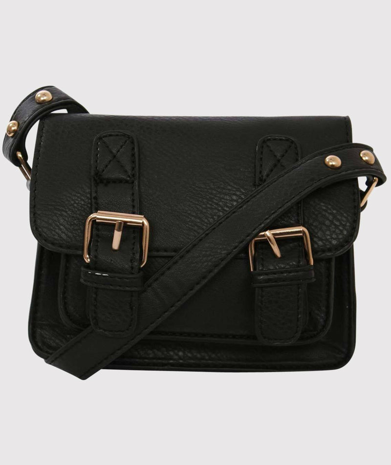 Mini Leather Look Satchel Bag in Black 3