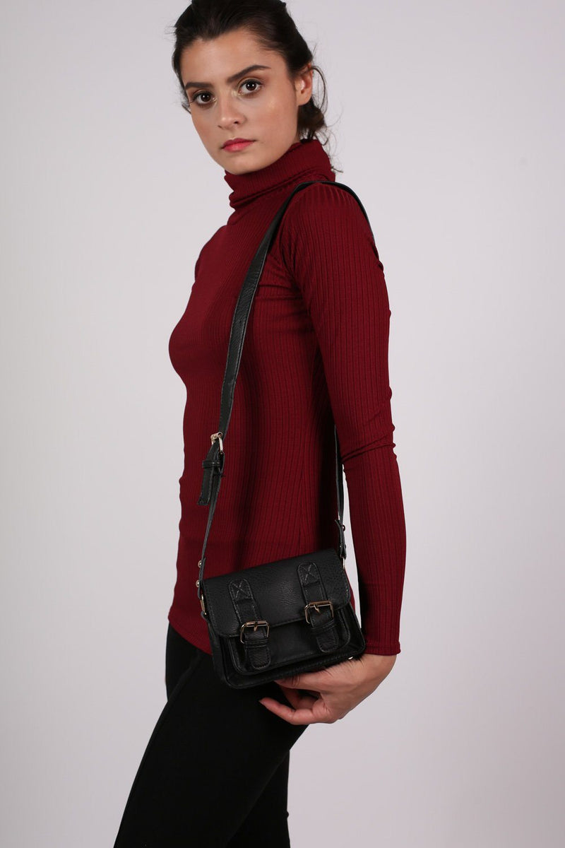 Mini Leather Look Satchel Bag in Black 1