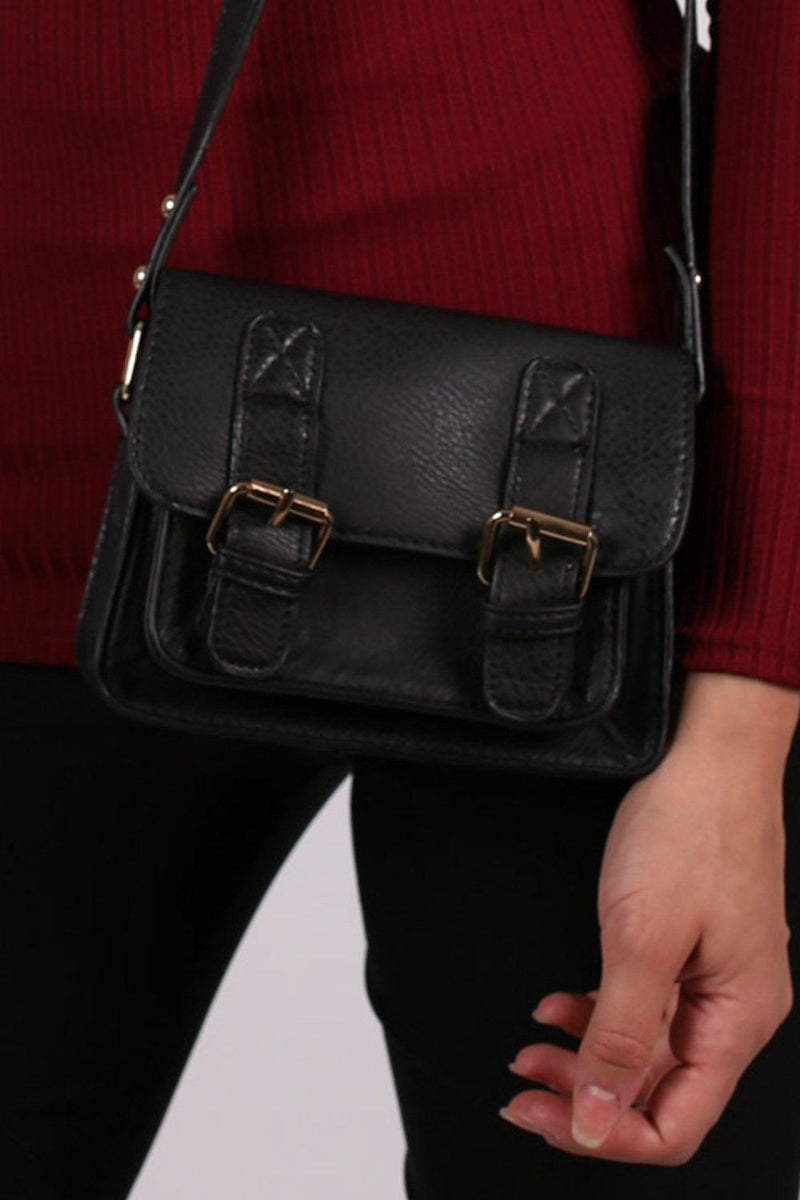 Mini Leather Look Satchel Bag in Black 2