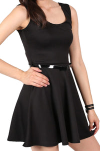 Sleeveless Belted Skater Dress in Black