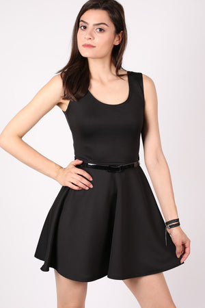 Sleeveless Belted Skater Dress in Black MODEL FRONT 2
