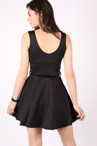 Sleeveless Belted Skater Dress in Black MODEL BACK