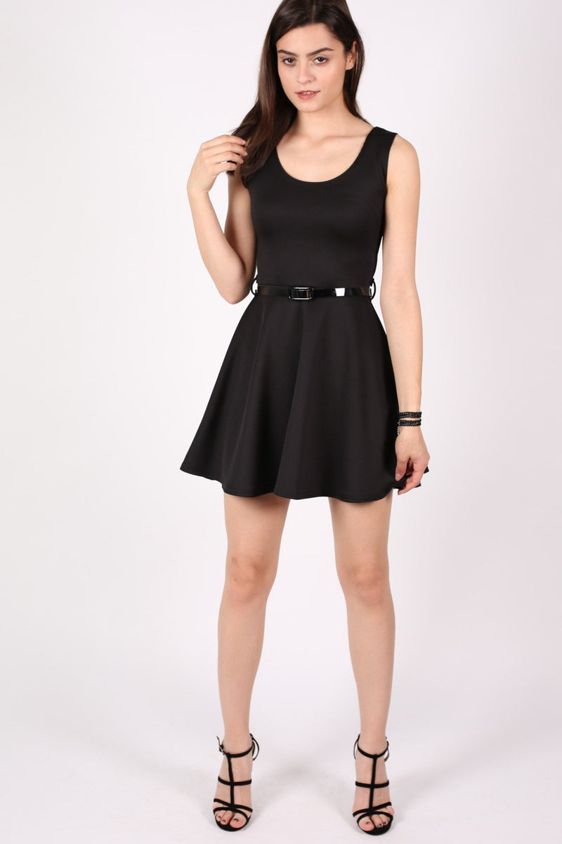 Sleeveless Belted Skater Dress in Black MODEL FRONT 3