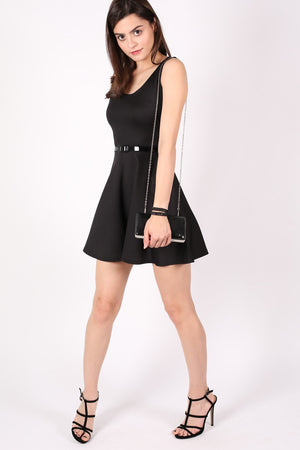 Sleeveless Belted Skater Dress in Black MODEL SIDE