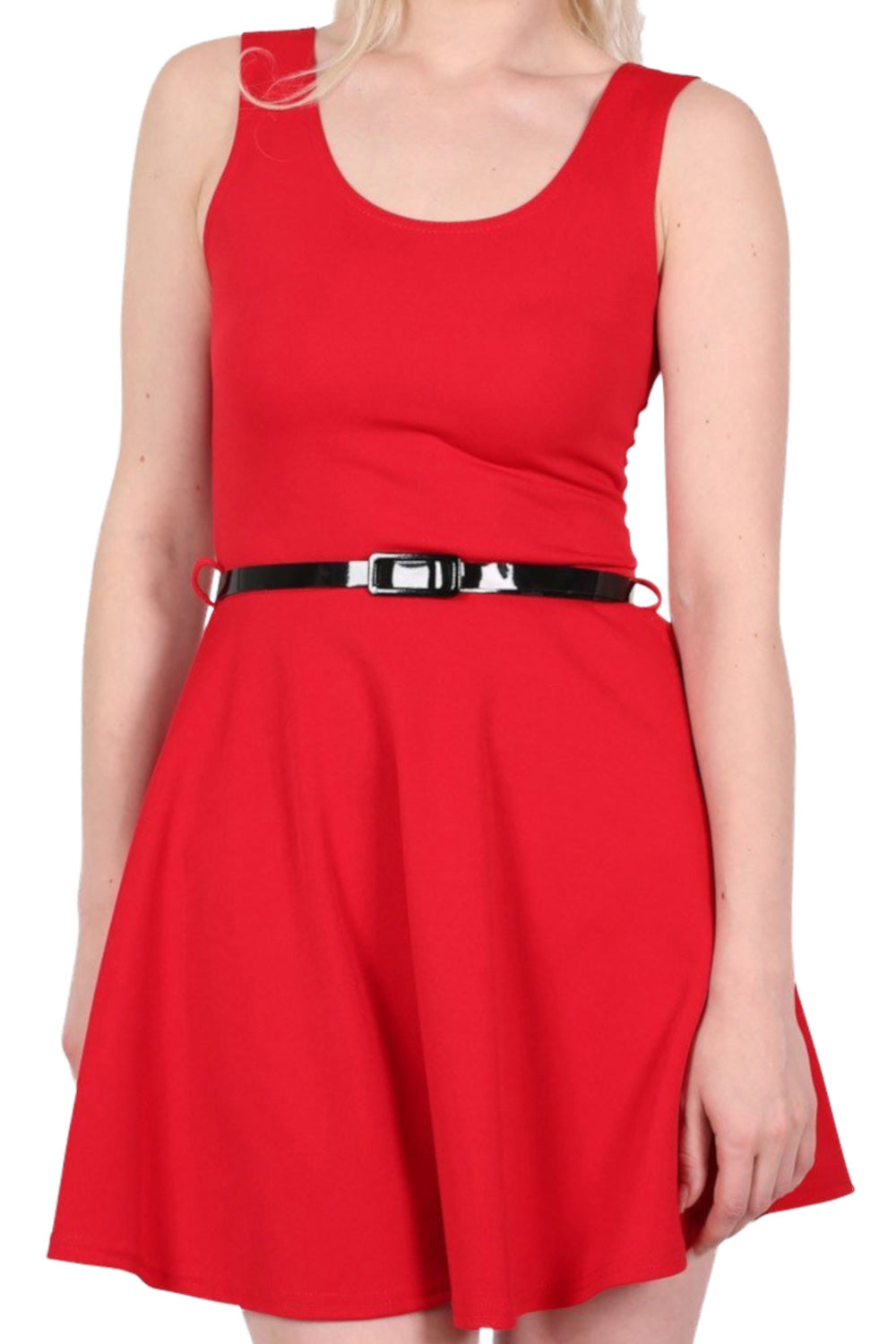 Sleeveless Belted Skater Dress in Red