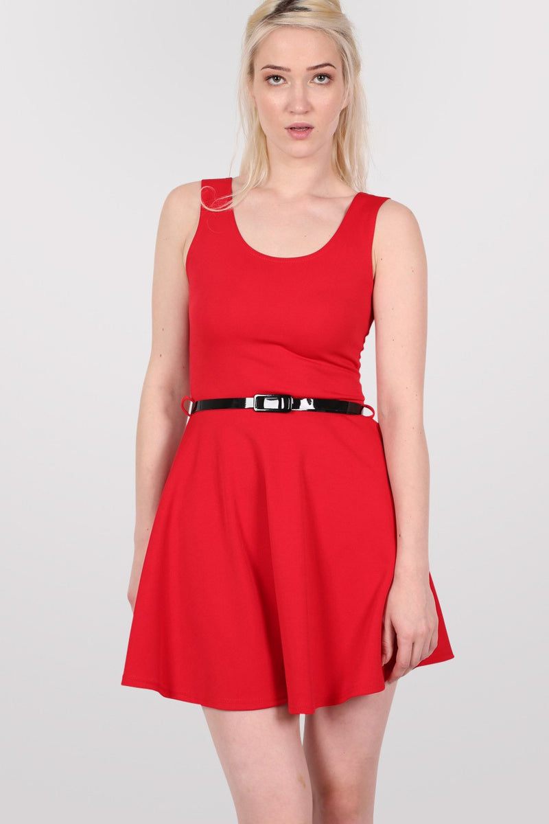 Sleeveless Belted Skater Dress in Red MODEL FRONT