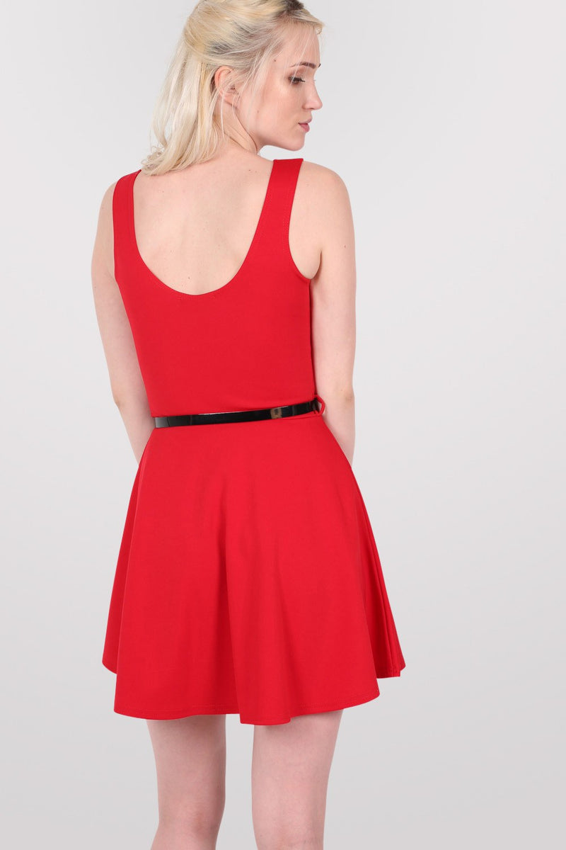 Sleeveless Belted Skater Dress in Red MODEL BACK