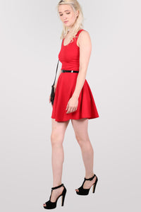 Sleeveless Belted Skater Dress in Red MODEL SIDE 2