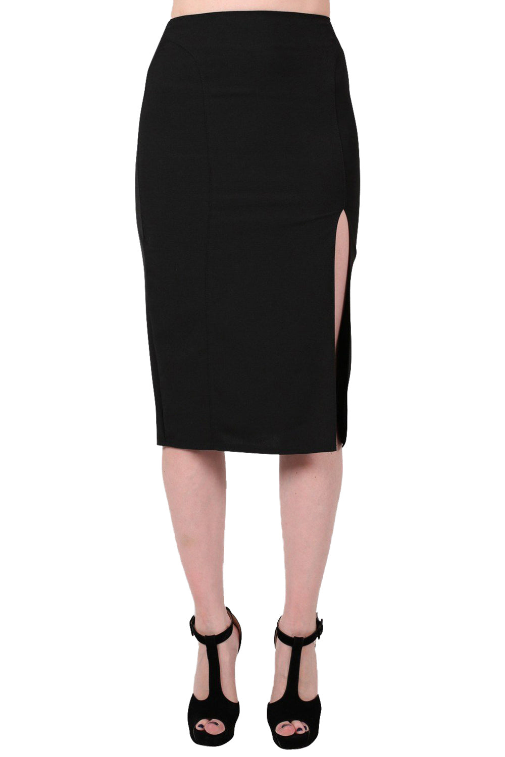 Front Split Pencil Skirt in Black