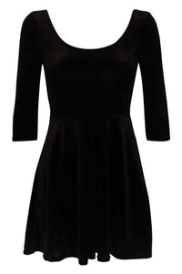 3/4 Sleeve Velvet Skater Dress in Black FRONT