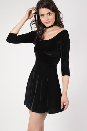 3/4 Sleeve Velvet Skater Dress in Black MODEL SIDE