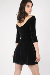 3/4 Sleeve Velvet Skater Dress in Black MODEL BACK