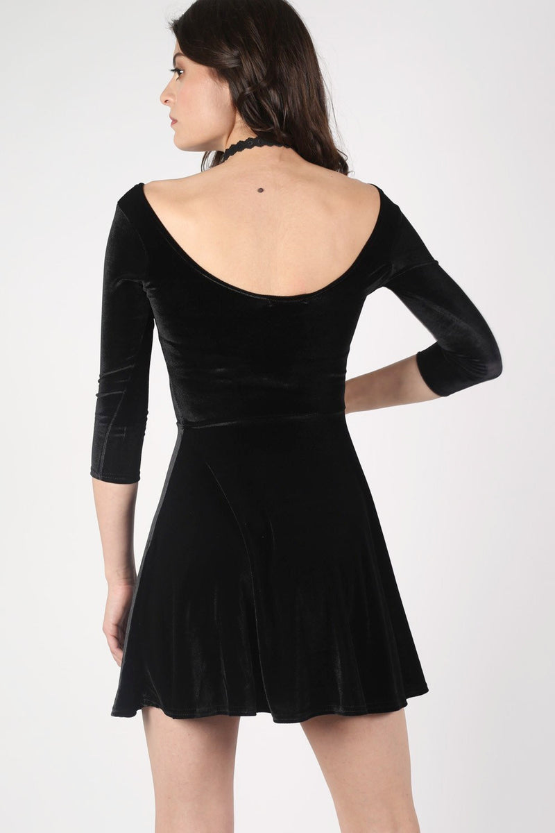 3/4 Sleeve Velvet Skater Dress in Black MODEL BACK 2