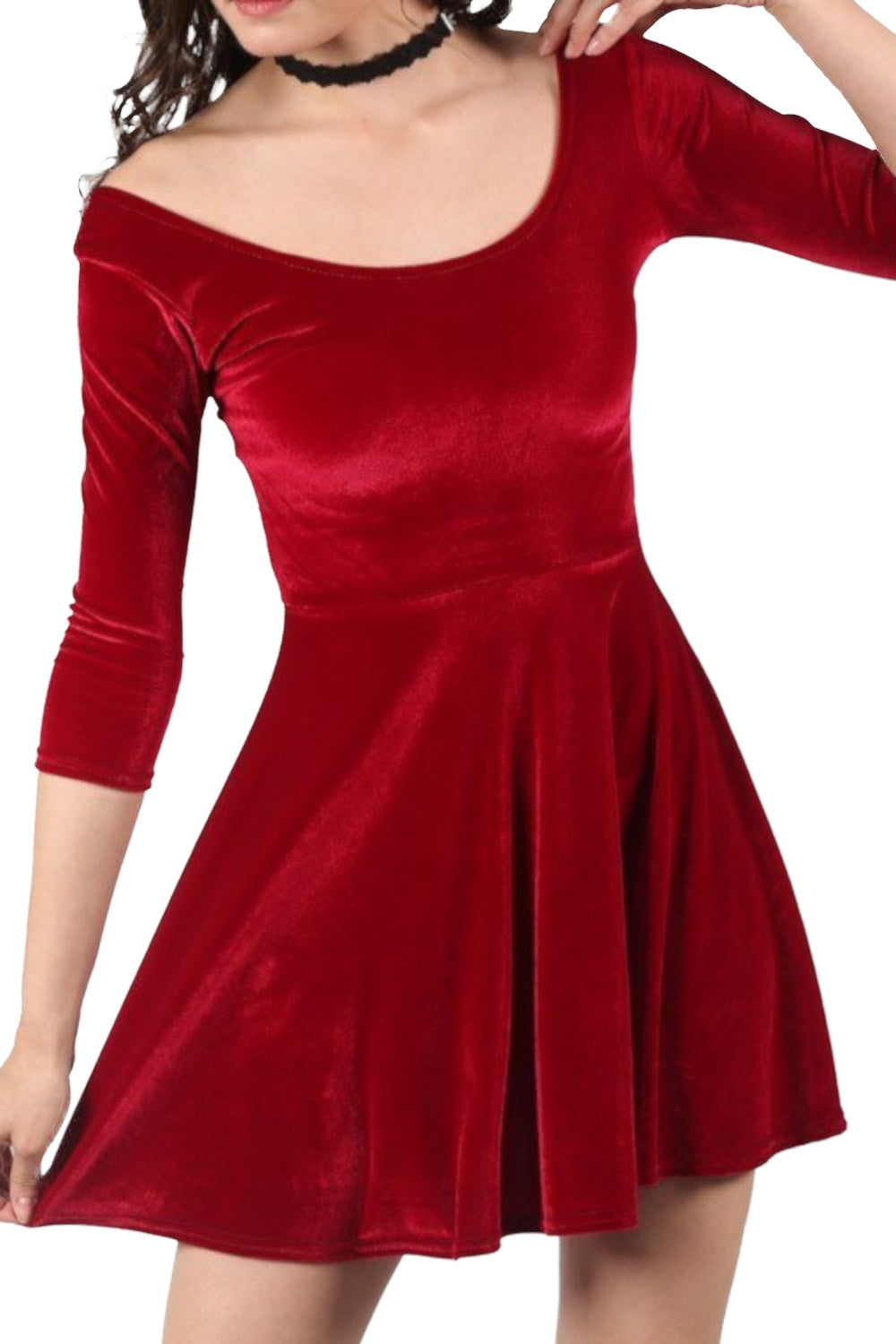 3/4 Sleeve Velvet Skater Dress in Wine Red