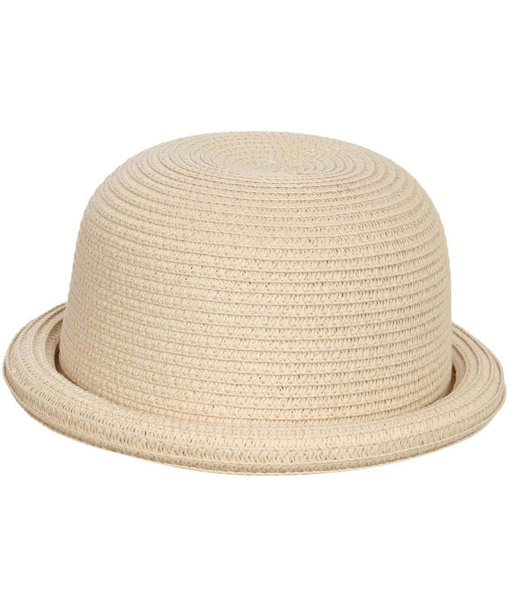 Roll Up Straw Bowler Hat in Wheat FRONT
