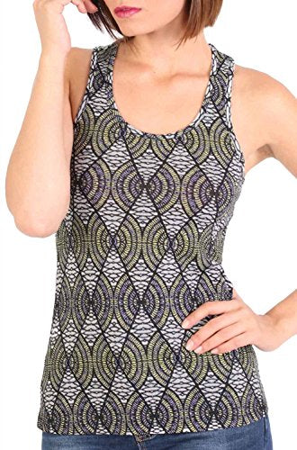 All Over Print Sleeveless Vest Top in Black