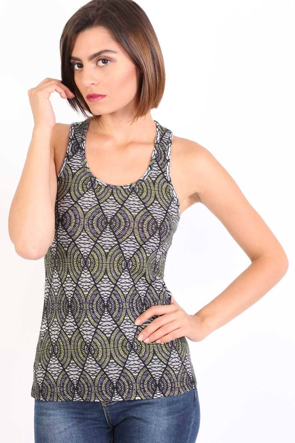 All Over Print Sleeveless Vest Top in Shiny Black 1