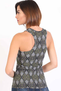 All Over Print Sleeveless Vest Top in Shiny Black 2