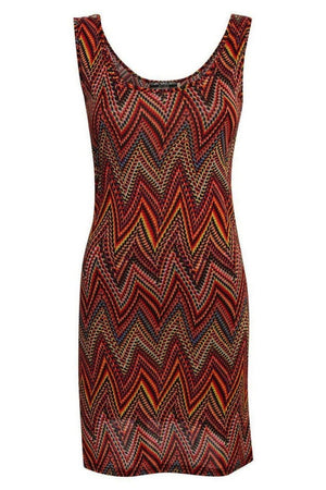 Geometric Print Sleeveless Shift Dress in Claret Red FRONT