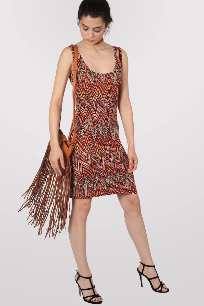 Geometric Print Sleeveless Shift Dress in Claret Red MODEL FRONT