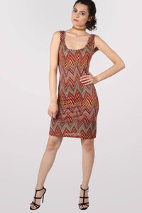 Geometric Print Sleeveless Shift Dress in Claret Red MODEL FRONT 2