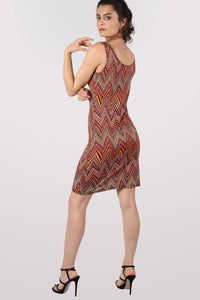 Geometric Print Sleeveless Shift Dress in Claret Red MODEL BACK