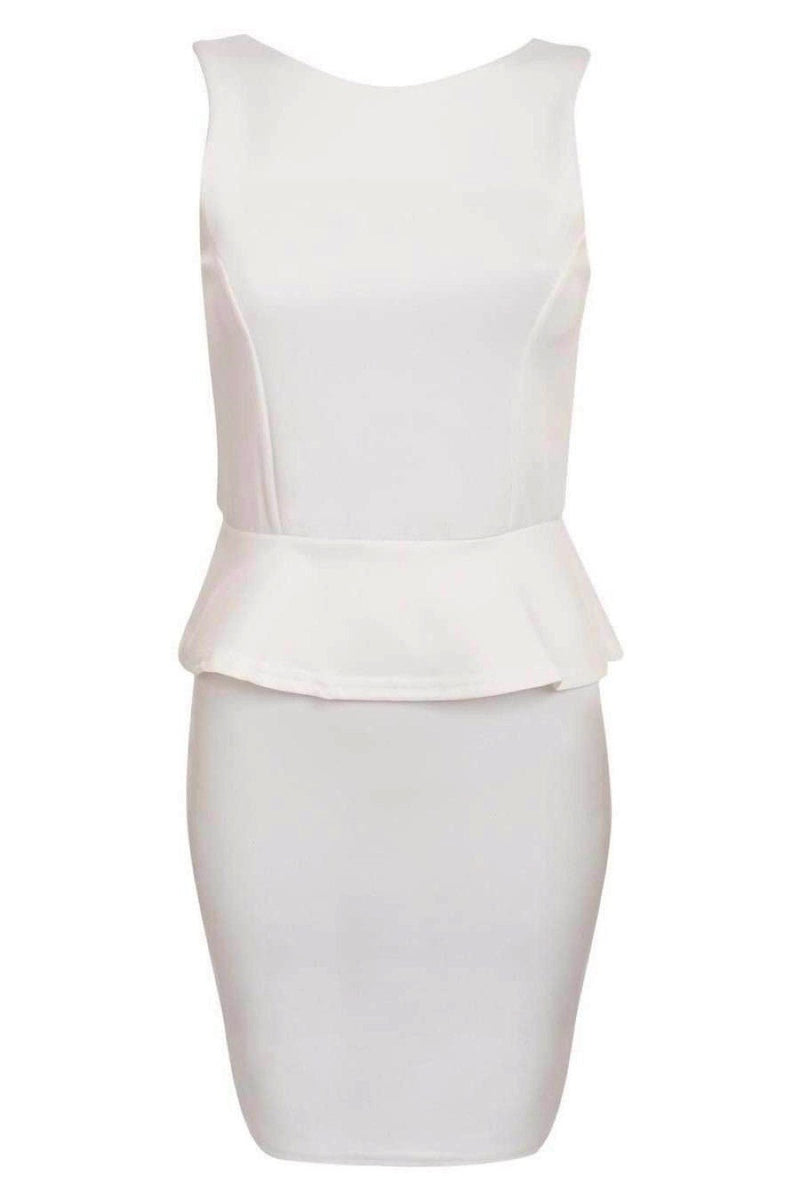 Sleeveless Peplum Dress in White FRONT
