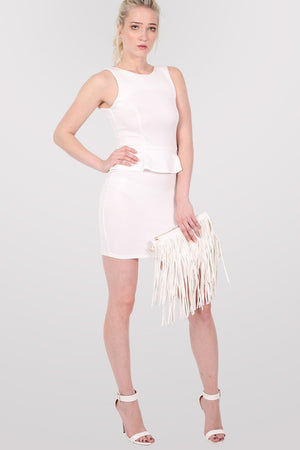 Sleeveless Peplum Dress in White MODEL FRONT 2