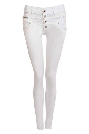 4 Button Skinny Jeans in White FRONT