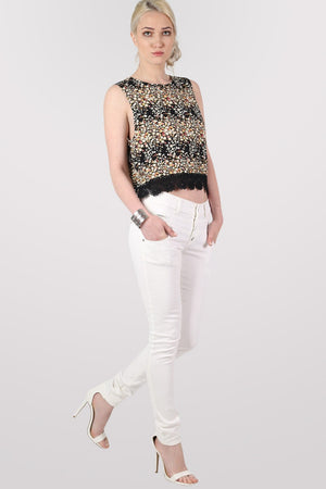4 Button Skinny Jeans in White MODEL FRONT