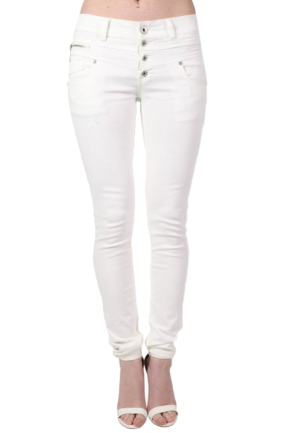 4 Button Skinny Jeans in White