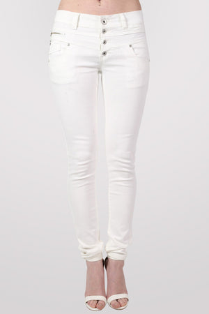 4 Button Skinny Jeans in White MODEL FRONT 2