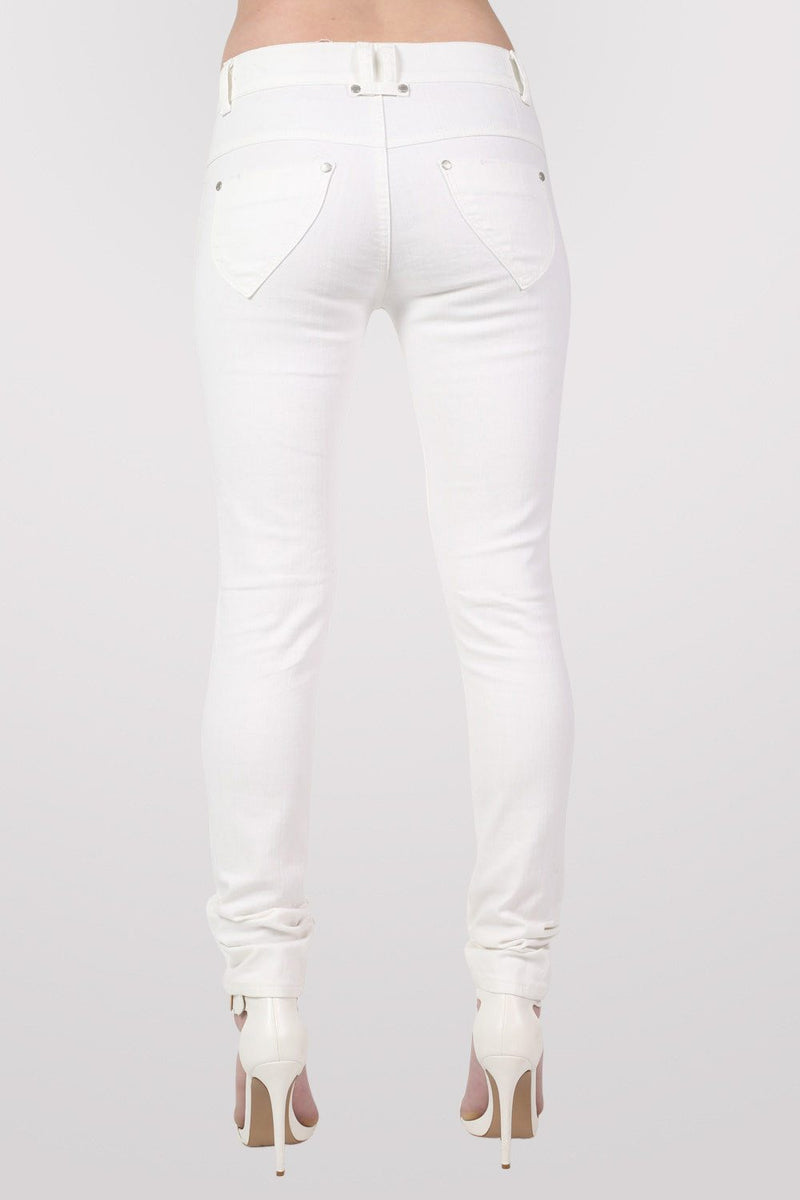 4 Button Skinny Jeans in White MODEL BACK